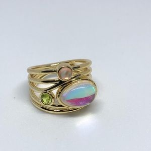 Labradorite and Moonstone gold tone ring